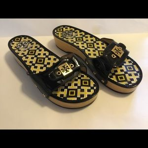 Tory Burch DIXON Black Patent, Wood Sole Sandals
